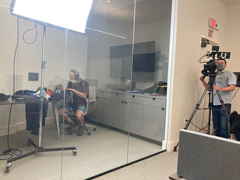 The Arri Sky Panel looms over MTI videographer Jamie Sides and audio engineer Bernie Ozol.